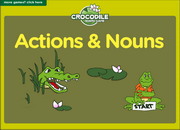 Action Verbs, Noun Collocations ESL Vocabulary, Grammar Interactive Crocodile Board Game