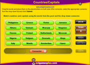 Countries, Capitals Vocabulary ESL Connector Matching Game