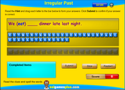 Irregular Past Tense Verbs Spelling Activity Online