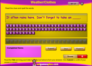 Weather, Clothes Vocabulary Spelling Activity for ESL Practice