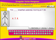 Irregular Verbs Interactive Hangman Game for ESL Grammar