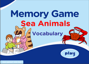 Sea Animals, Aquatic Animals Vocabulary ESL Memory Game