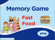 Fast Food ESL Vocabulary Memory Game – Hamburger, bread, hot dog