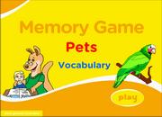 Pets Vocabulary ESL Memory Game, Dog, Cat