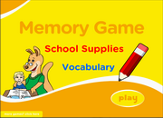 School Supplies, Stationery Vocabulary ESL Memory Game – Easy