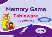 Tableware Vocabulary ESL Memory Game