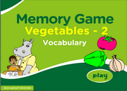 ESL Vegetable Vocabulary Memory Game for Low Beginners