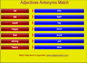 Adjectives, Opposites, Antonyms, ESL Mobile Matching Game