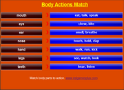 Body Parts Vocabulary Game, ESL Mobile Matching Game