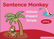 Present Simple Tense Action Verbs Interactive Monkey Game