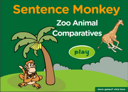 Comparatives, Superlatives, Wild, Zoo Animals Vocabulary, Grammar, Interactive Monkey Fun Activity