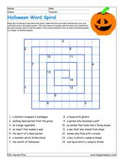 Halloween word spiral