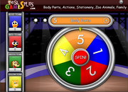 body parts, action, family, zoo animals, wheel game