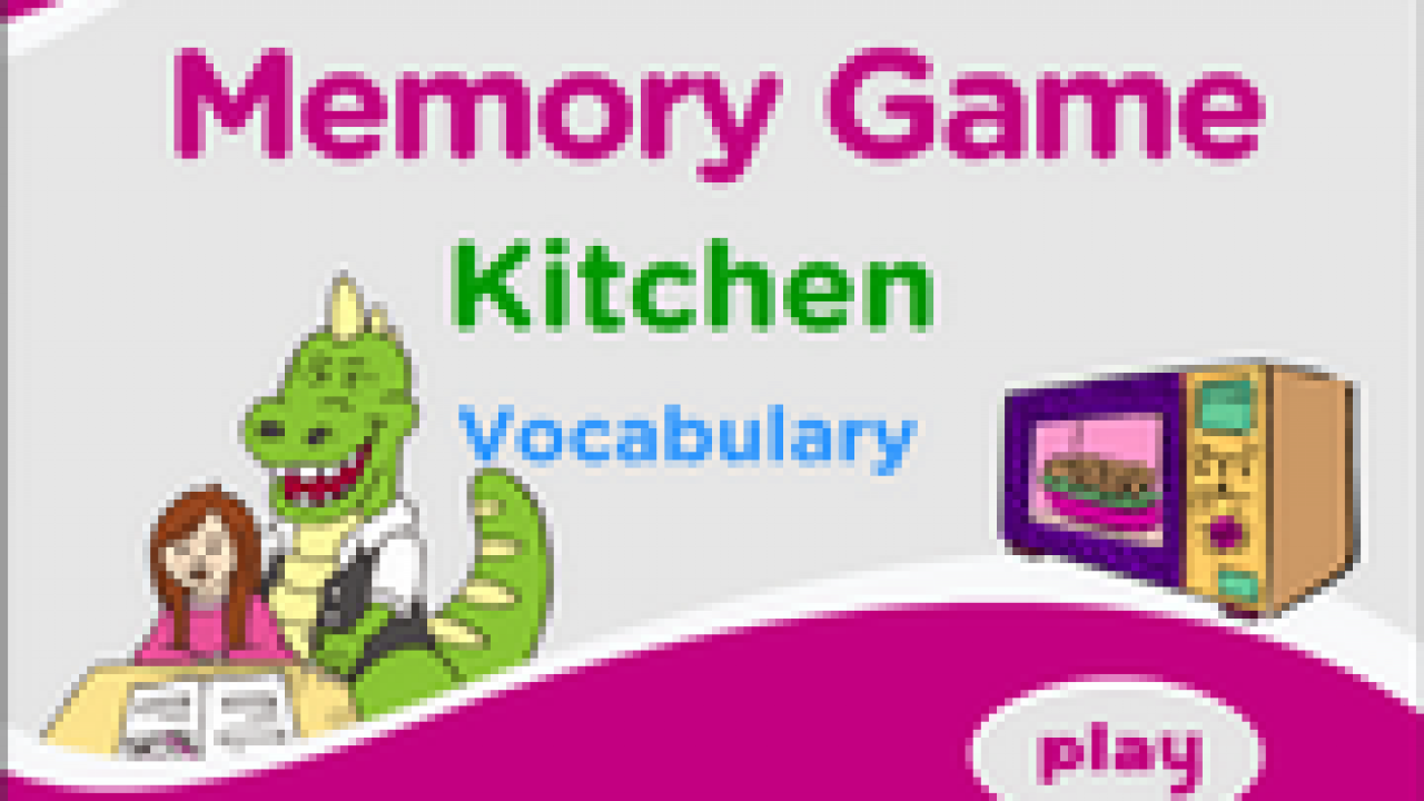 Kitchen Vocabulary Memory Game For Esl Practice
