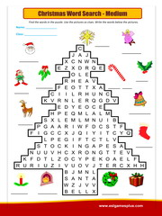 Christmas Word Search Med Puzzle Worksheet