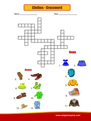 Clothes crossword Puzzle Worksheet
