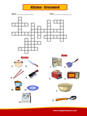 Kitchen Crossword Puzzle Worksheet